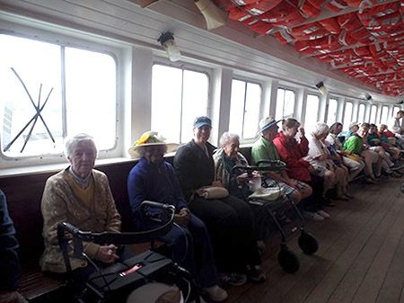 Rekai Centre residents enjoying a trip in the Toronto Islands Ferry